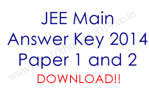 JEE Main 2014 Answer Keys