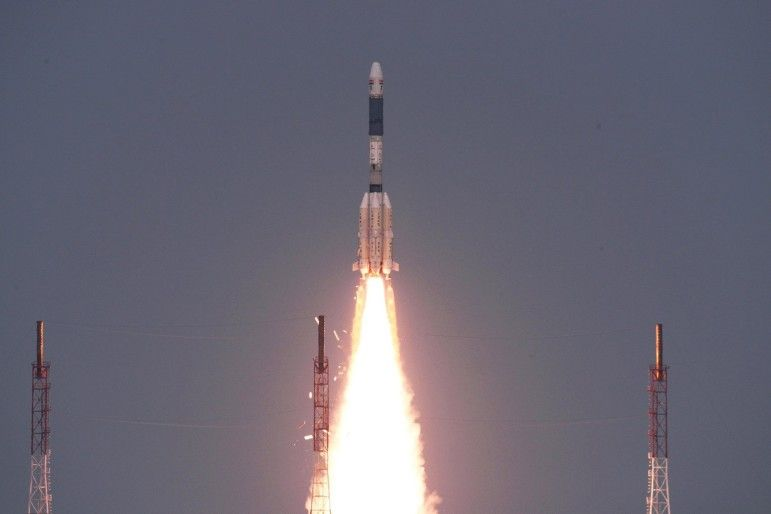 A GSLV D6 Launch Carrying GSAT 6 Indian Military Satellite